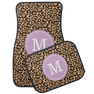 Purple and Leopard Print Custom Monogram Car Mat