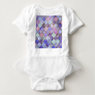 Purple and Light Blue Moroccan Tile Pattern Baby Bodysuit