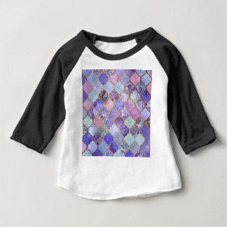 Purple and Light Blue Moroccan Tile Pattern Baby T-Shirt