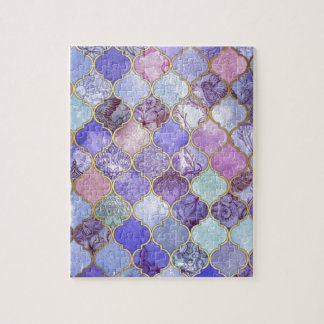 Purple and Light Blue Moroccan Tile Pattern Jigsaw Puzzle