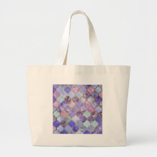 Purple and Light Blue Moroccan Tile Pattern Large Tote Bag