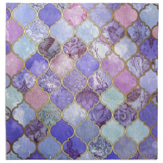 Purple and Light Blue Moroccan Tile Pattern Napkin