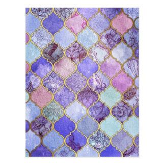 Purple and Light Blue Moroccan Tile Pattern Postcard
