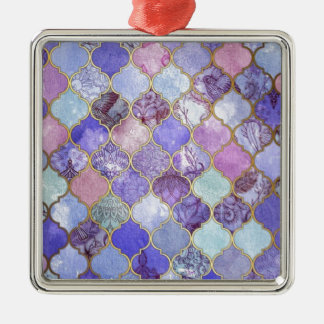 Purple and Light Blue Moroccan Tile Pattern Silver-Colored Square Decoration