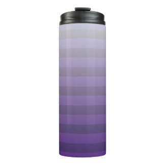 Purple and Light Gray Striped Gradient Thermal Tumbler