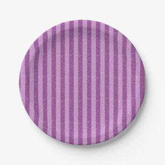 Purple and Light Purple Stripes Paper Plate