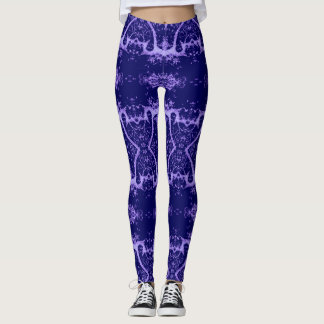 Purple and Lilac Designer Leggings, Tree, Yoga Leggings
