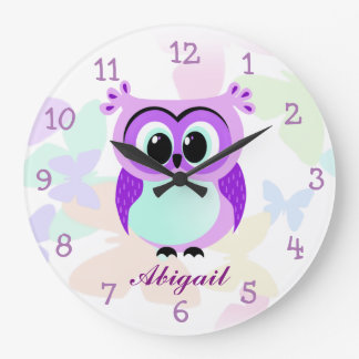 Purple and lilac mother and baby owl illustration large clock