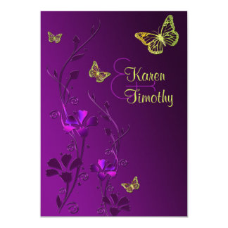 Purple and Lime Floral with Butterflies Card