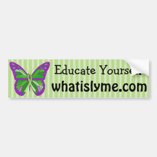 Purple and Lime Green Butterfly Lyme Disease Bumper Sticker