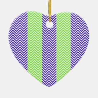 Purple and Lime Green Striped Chevron Zig Zags Ceramic Heart Decoration
