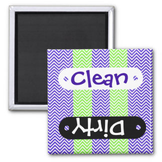 Purple and Lime Green Striped Chevron Zig Zags Refrigerator Magnet