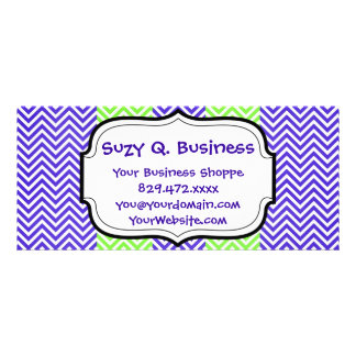 Purple and Lime Green Striped Chevron Zig Zags Rack Card Template