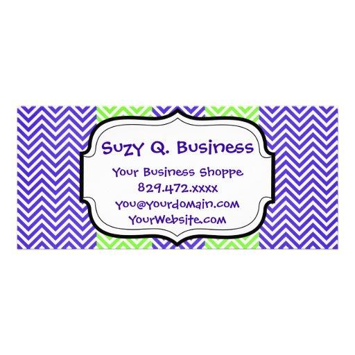 Purple and Lime Green Striped Chevron Zig Zags Rack Card Design