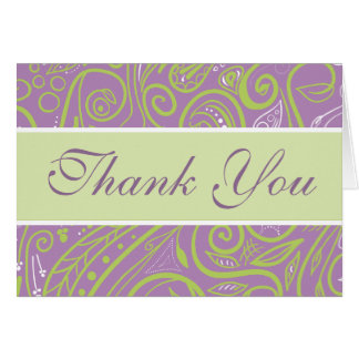 purple and lime paisley wedding theme note card