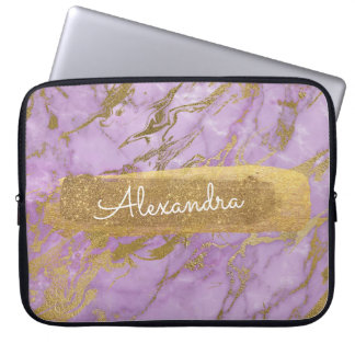 Purple and Marble with Gold Foil and Glitter Laptop Sleeve