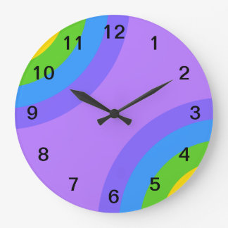 Purple and Multicolor Abstract. Wall Clocks