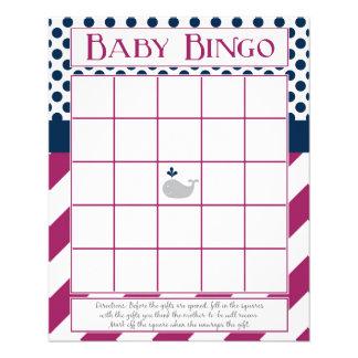 Purple and Navy Whale Baby Shower Bingo Flyer