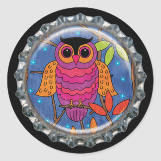 Purple and Orange Autumn Owl Bottle Cap Classic Round Sticker