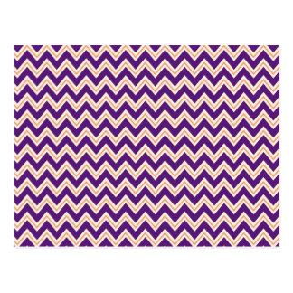 Purple and Orange Chevron Stripes Zip Zag Pattern Post Cards
