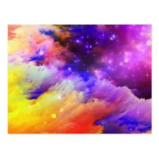 Purple and orange cosmos postcard