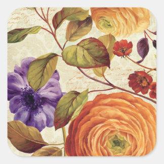 Purple and Orange Flowers Square Sticker