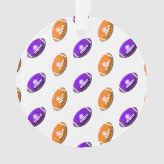 Purple and Orange Football Pattern Ornament