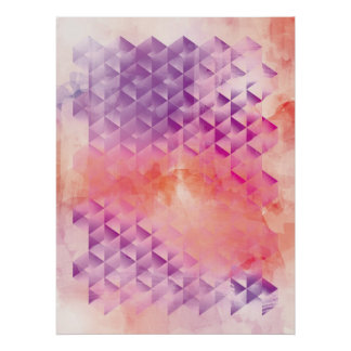 Purple and Orange Geometric Print
