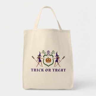 Purple and Orange Halloween Grocery Tote Bag