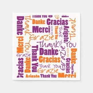 Purple and Orange Multilingual Thank You Paper Napkin