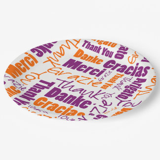 Purple and Orange Multilingual Thank You Paper Plate