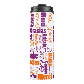Purple and Orange Multilingual Thank You Thermal Tumbler
