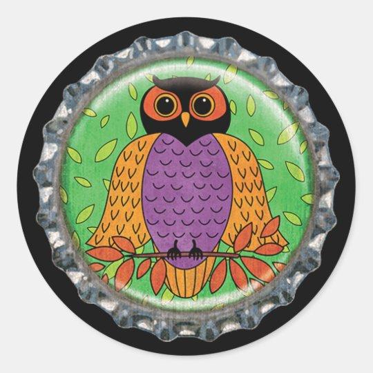 Purple and Orange Owl Bottle Cap Classic Round Sticker