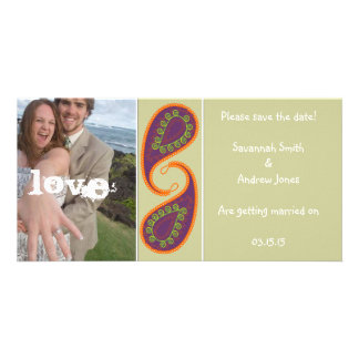 Purple and Orange Paisley Save the Date Your Photo Picture Card