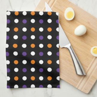 Purple and Orange Polka Dot Black Kitchen Towels