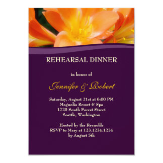 Purple and Orange Rehearsal Dinner Party Card