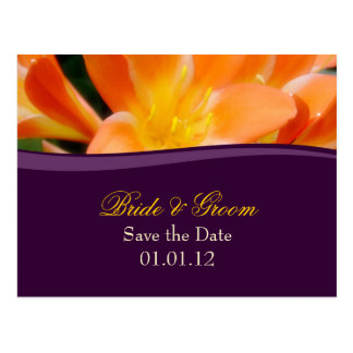 Purple and Orange Save the Date Postcard