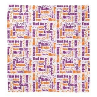 Purple and Orange Thank You Word Cloud Bandana