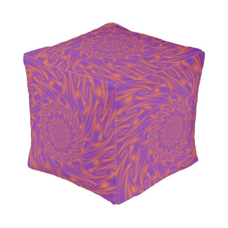 Purple and Orange Vortex Pouf