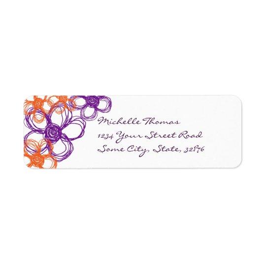 Purple and Orange Wild Flowers Return Address Label