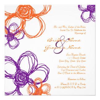 Purple and Orange Wild Flowers Wedding Invitation