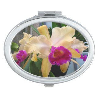 Purple and Peach Orchids Compact Mirror