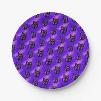 Purple and pink butterfly pattern paper plate