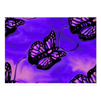 Purple and pink butterfly pattern postcard