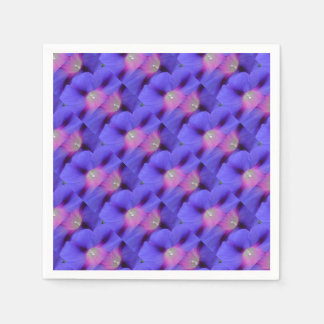 Purple and Pink Colored Morning Glory Flowers Clos Paper Serviettes