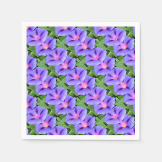 Purple and Pink Colored Morning Glory Flowers Disposable Serviette
