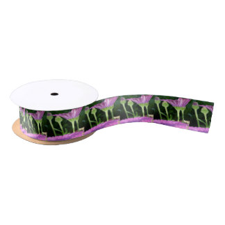 Purple And Pink Daisy Flower in Full Bloom Satin Ribbon