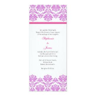"Purple and Pink Damask Wedding Invitation 4"" X 9.25"" Invitation Card"