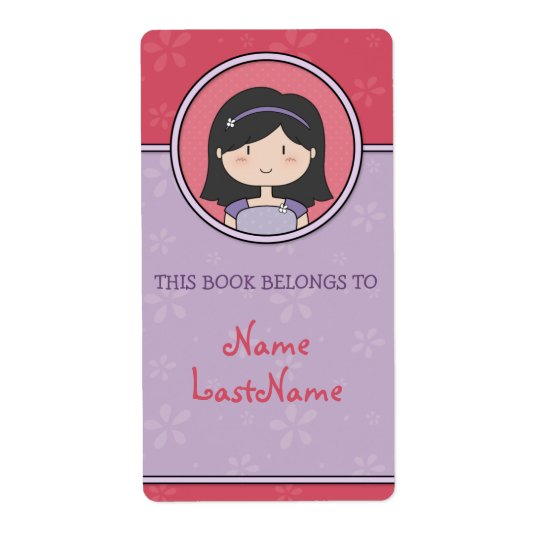 Purple and Pink Ex Libris (cute girl) Shipping Label