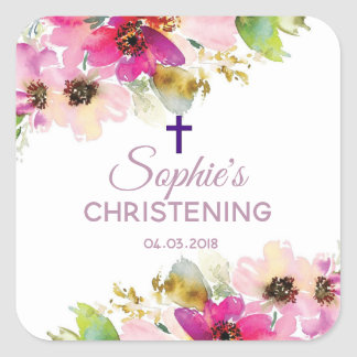 Purple and Pink Floral Christening Baptism sticker